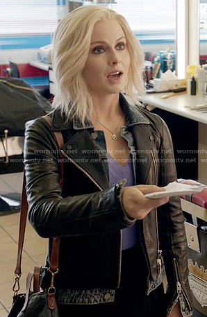 Liv's denim and leather layered jacket on iZombie