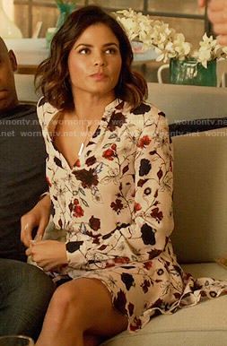 Lucy's floral shirtdress on Supergirl