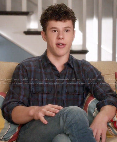 Luke's navy plaid shirt on Modern Family