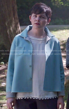 Mary's white crochet trim top and blue jacket on Once Upon a Time