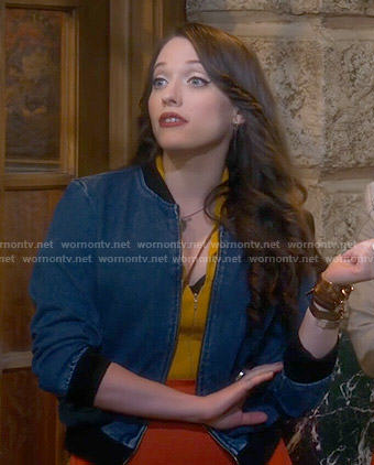 Max's denim bomber jacket on 2 Broke Girls
