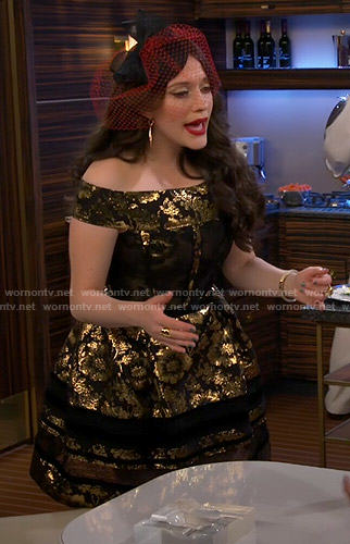 Max's gold off-shoulder dress on 2 Broke Girls