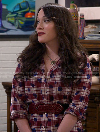 Max's plaid and dotted shirt on 2 Broke Girls