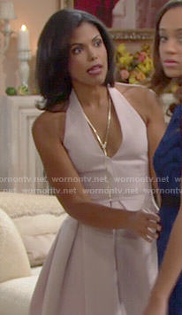 Maya's blush pink halter neck Thanksgiving dress on The Bold and the Beautiful