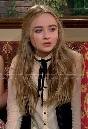 Maya's cream embroidered top with neck tie on Girl Meets World