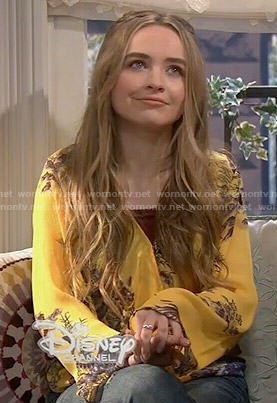 Maya's yellow printed wrap blouse on Girl Meets World