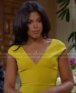 Maya's yellow v-neck dress on The Bold and the Beautiful