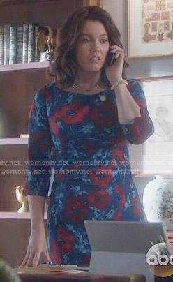 Mellie's blue and red floral dress on Scandal