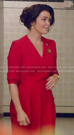 Mellie's red drape front dress on Scandal