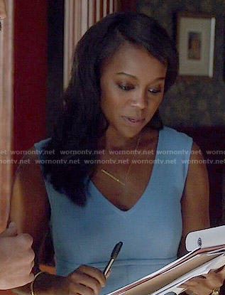 Michaela's blue v-neck dress with front pockets on How to Get Away with Murder
