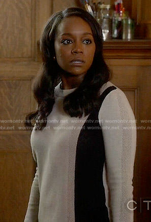 Michaela's colorblock sweater on How to Get Away with Murder
