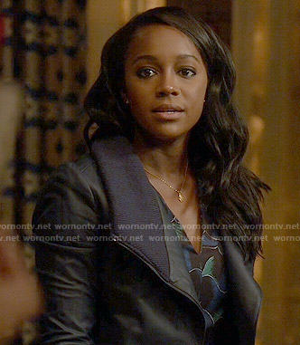Michaela's navy leather jacket with knit collar on How to Get Away with Murder