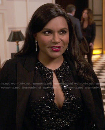Mindy's black embellished keyhole dress on The Mindy Project