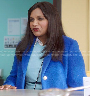 Mindy's royal blue coat on The Mindy Project