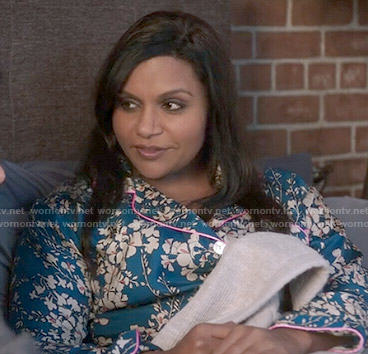 Mindy's blue floral pajamas with pink trim on The Mindy Project