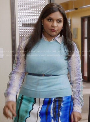 Mindy's blue and green snake print blouse and skirt on The Mindy Project