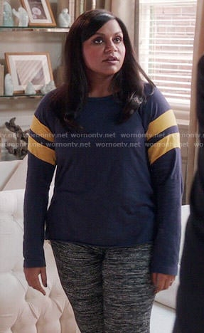 Mindy's blue long sleeved tee with yellow stripes on The Mindy Project
