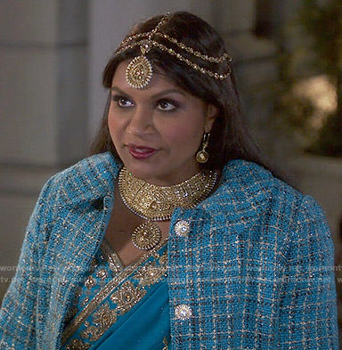 Mindy's blue tweed coat on The Mindy Project