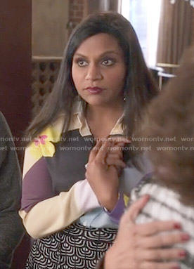Mindy's colorblock and floral print blouse on The Mindy Project