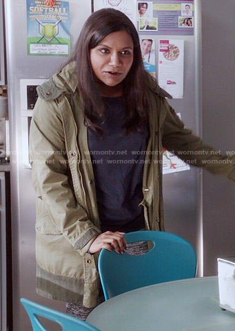 Mindy's green parka on The Mindy Project