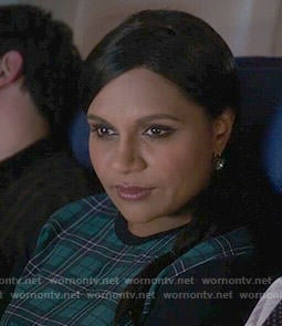 Mindy's green and navy plaid sweater on The Mindy Project