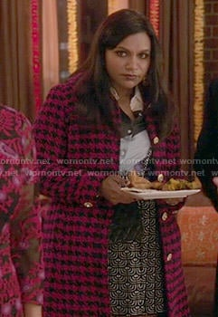 Mindy's pink houndstooth coat on The Mindy Project