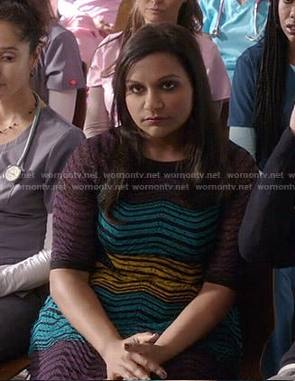 Mindy's purple, yellow and blue zig zag dress on The Mindy Project