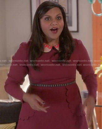 Mindy's red scalloped front dress with studded collar on The Mindy Project