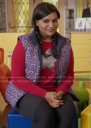 Mindy's red star studded sweater on The Mindy Project