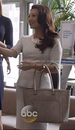 Melinda's light grey peplum top and skirt on Agents of SHIELD