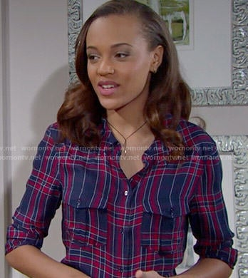 Nicole's blue and red plaid shirt on The Bold and the Beautiful