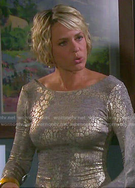 Nicole's metallic long sleeved dress on Days of our Lives