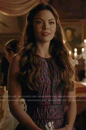 Nora's purple textured dress on The Vampire Diaries