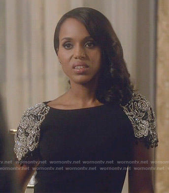 Olivia's black dress with embellished sleeves on Scandal