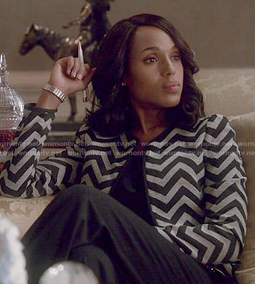 Olivia's chevron striped jacket on Scandal