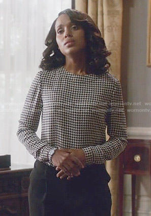 Olivia's houndstooth blouse on Scandal