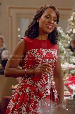 Olivia's red floral dress on Scandal