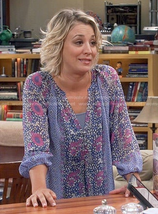 Penny's blue and purple floral blouse on The Big Bang Theory