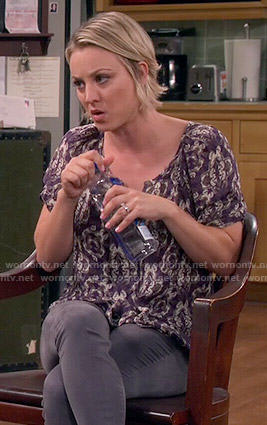 Penny's purple butterfly print top on The Big Bang Theory