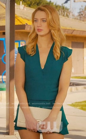 Petra's green ruffled romper on Jane the Virgin