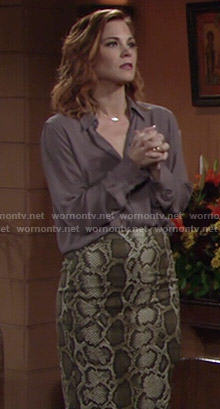 Phyllis's snake print skirt and open back blouse on The Young and the Restless