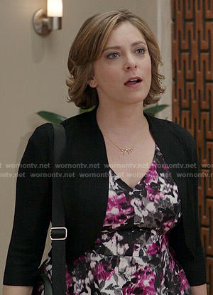 Rebecca's pink and black floral v-neck dress on Crazy Ex-Girlfriend