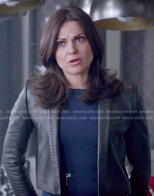 Regina's blue zipper dress and cropped leather jacket on Once Upon a Time