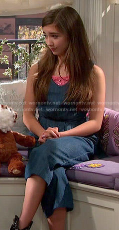 Riley's denim culotte jumpsuit on Girl Meets World