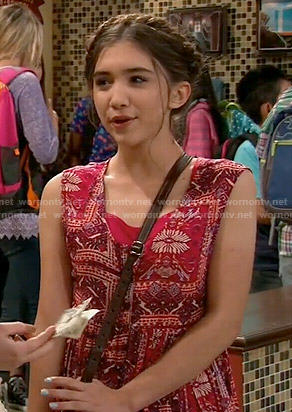 Riley's red printed dress on Girl Meets World
