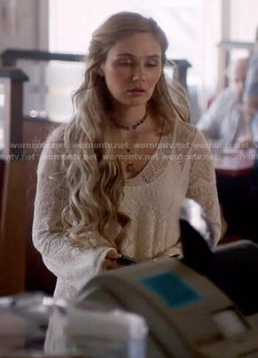 Scarlett's long pointelle sweater on Nashville