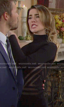 Steffy's black one-sleeved Thanksgiving dress on The Bold and the Beautiful