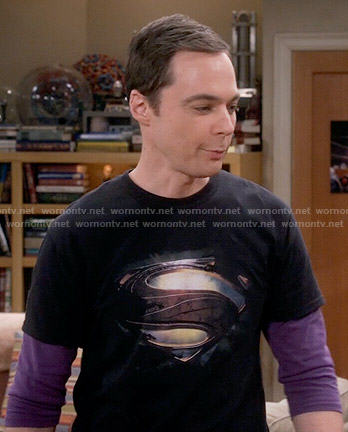 Sheldon's black Superman shield t-shirt on The Big Bang Theory