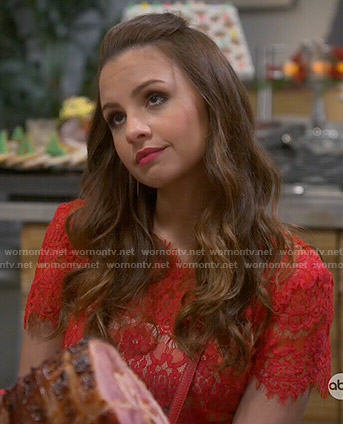 Sofia's red lace dress on Young and Hungry