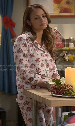 Sofia's red snowflake print pajamas on Young and Hungry